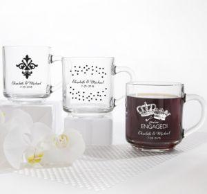 PERSONALIZED Wedding Glass Coffee Mugs (Printed Glass) (White, Damask & Dots)