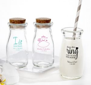 PERSONALIZED Wedding Glass Milk Bottles with Corks (Printed Glass) (White, I Do Woo Hoo)