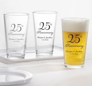 PERSONALIZED Wedding Pint Glasses (Printed Glass) (Silver, 25th Anniversary)
