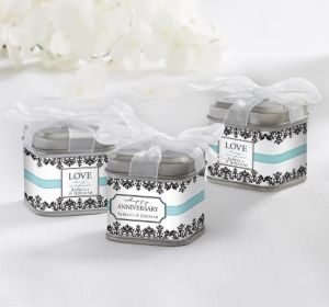 PERSONALIZED Wedding Favor Tins with Bows (Printed Label) (Always & Forever)