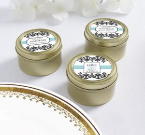 PERSONALIZED Wedding Round Candy Tins - Gold (Printed Label) (Always & Forever)