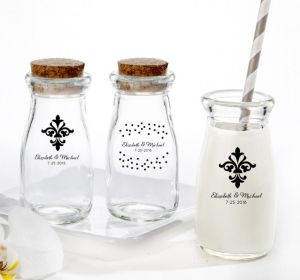 PERSONALIZED Wedding Glass Milk Bottles with Corks (Printed Glass) (Black, We're Engaged Crowns)