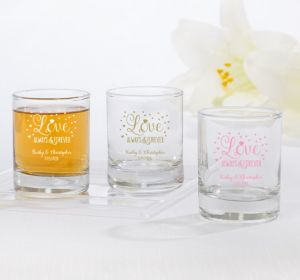 PERSONALIZED Wedding Shot Glasses (Printed Glass) (Pink, Sparkling Pink Wedding)