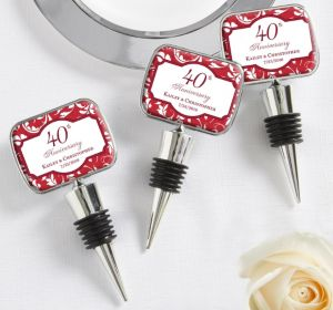 PERSONALIZED Wedding Bottle Stoppers (Printed Epoxy Label) (40th Anniversary)