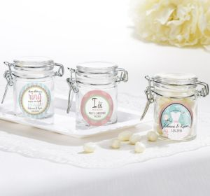 PERSONALIZED Wedding Small Glass Jars (Printed Label ) (Ring Engaged)
