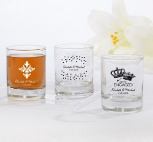 PERSONALIZED Wedding Shot Glasses (Printed Glass) (White, We're Engaged Crowns)