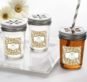 PERSONALIZED Wedding Mason Jars with Daisy Lids (Printed Label) (50th Anniversary)