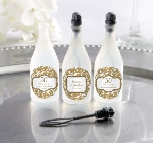 PERSONALIZED Wedding Bubbles (Printed Label) (Gold Elegant Scroll)