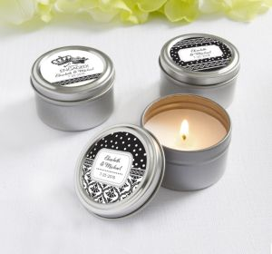 PERSONALIZED Wedding Candle Tins (Printed Label) (Damask & Dots)