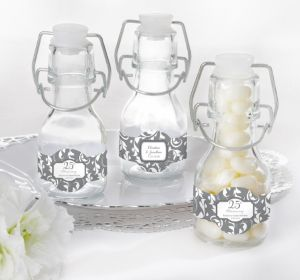 PERSONALIZED Wedding Glass Swing Top Bottles (Printed Label) (25th Anniversary)