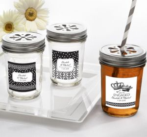 PERSONALIZED Wedding Mason Jars with Daisy Lids (Printed Label) (Damask & Dots)