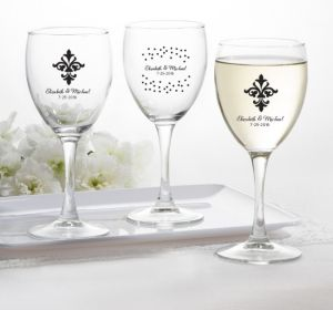 PERSONALIZED Wedding Wine Glasses (Printed Glass) (Black, Damask & Dots)