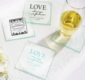 PERSONALIZED Wedding Glass Coasters, Set of 12 (Printed Glass) (White, Always & Forever Damask)