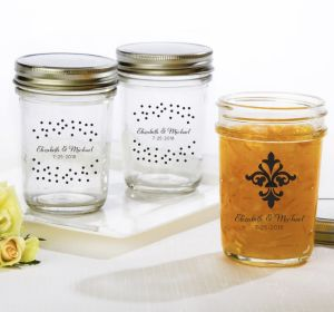 PERSONALIZED Wedding Mason Jars with Solid Lids (Printed Glass) (White, We're Engaged Crowns)