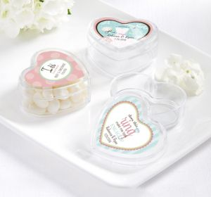 PERSONALIZED Wedding Heart-Shaped Plastic Favor Boxes (Printed Label) (I Do Woo Hoo)
