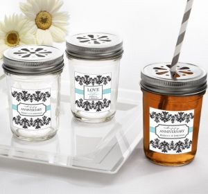 PERSONALIZED Wedding Mason Jars with Daisy Lids (Printed Label)
