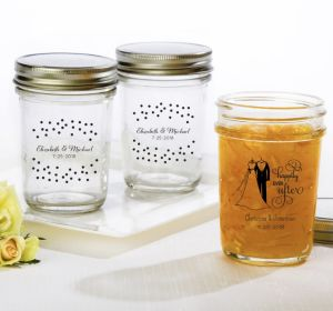 PERSONALIZED Wedding Mason Jars with Solid Lids (Printed Glass) (White, Black & White Attire)