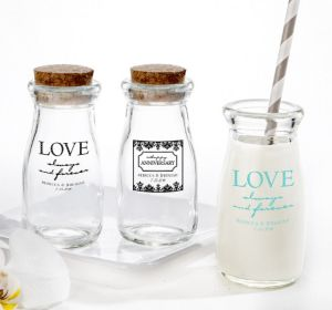 PERSONALIZED Wedding Glass Milk Bottles with Corks (Printed Glass) (Black, Always & Forever Phrase)