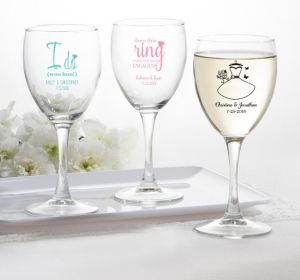 PERSONALIZED Wedding Wine Glasses (Printed Glass) (Black, Ring Engaged)