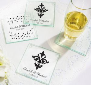 PERSONALIZED Wedding Glass Coasters, Set of 12 (Printed Glass) (Black, Damask & Dots Engagement)