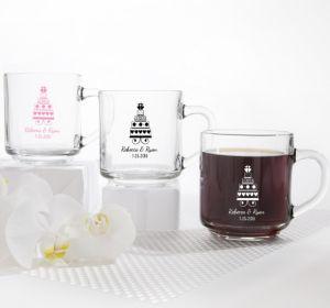 PERSONALIZED Wedding Glass Coffee Mugs (Printed Glass) (White, Sweet Wedding Cake)