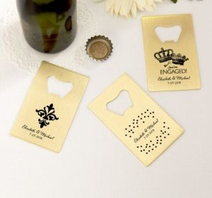 PERSONALIZED Wedding Credit Card Bottle Openers - Gold (Printed Metal) (White, Damask & Dots)