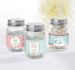 PERSONALIZED Wedding Mini Glass Mason Jars (Printed Label ) (Ring Engaged)
