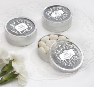 PERSONALIZED Wedding Round Candy Tins - Silver (Printed Label) (Silver Elegant Scroll)
