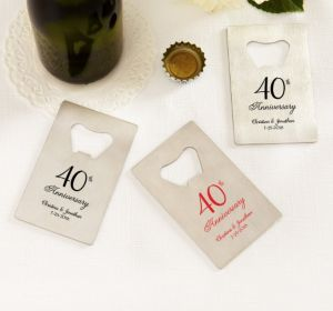 PERSONALIZED Wedding Credit Card Bottle Openers - Silver (Printed Metal) (Red, 40th Anniversary)