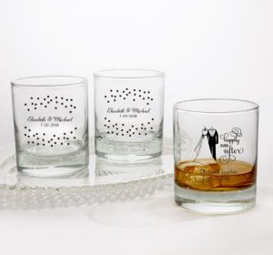 PERSONALIZED Wedding Rocks Glasses (Printed Glass) (White, Black & White Attire)