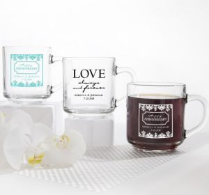 PERSONALIZED Wedding Glass Coffee Mugs (Printed Glass) (Black, Always & Forever Damask)
