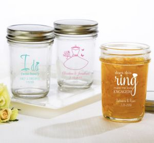 PERSONALIZED Wedding Mason Jars with Solid Lids (Printed Glass) (Pink, I Do Woo Hoo)