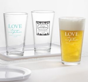 PERSONALIZED Wedding Pint Glasses (Printed Glass) (White, Always & Forever Damask)