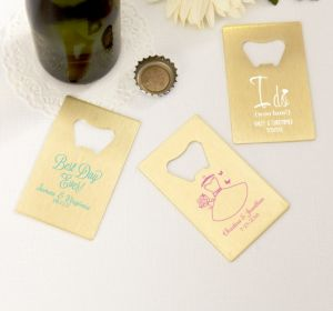 PERSONALIZED Wedding Credit Card Bottle Openers - Gold (Printed Metal) (White, Ring Engaged)