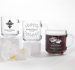 PERSONALIZED Wedding Glass Coffee Mugs (Printed Glass) (White, Damask & Dots Engagement)