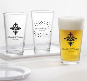 PERSONALIZED Wedding Pint Glasses (Printed Glass) (Black, Damask & Dots Engagement)