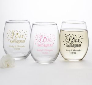 PERSONALIZED Wedding Stemless Wine Glasses 15oz (Printed Glass) (Gold, Sparkling Pink Wedding)