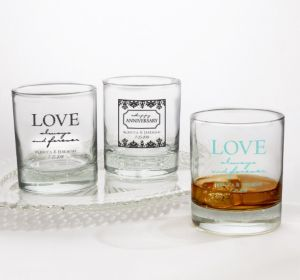 PERSONALIZED Wedding Rocks Glasses (Printed Glass) (White, Always & Forever Love)