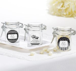 PERSONALIZED Wedding Small Glass Jars (Printed Label) (Damask & Dots Engagement)