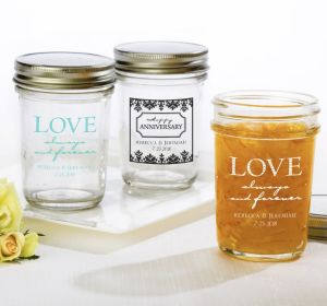 PERSONALIZED Wedding Mason Jars with Solid Lids (Printed Glass) (Black, Always & Forever Damask)
