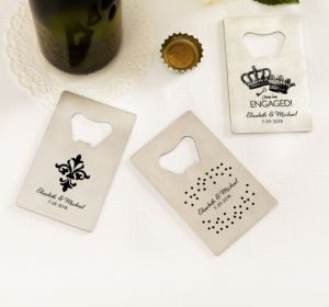 PERSONALIZED Wedding Credit Card Bottle Openers - Silver (Printed Metal) (White, We're Engaged Crowns)