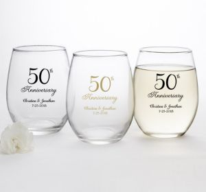 PERSONALIZED Wedding Stemless Wine Glasses 15oz (Printed Glass) (Gold, 50th Anniversary)