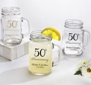 PERSONALIZED Wedding Mason Jar Mugs (Printed Glass) (50th Anniversary Elegant Scroll)