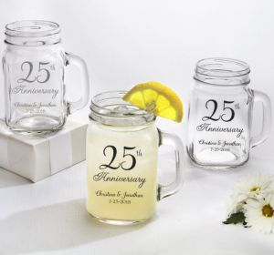 PERSONALIZED Wedding Mason Jar Mugs (Printed Glass) (25th Anniversary Elegant Scroll)