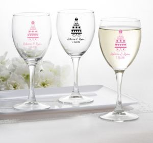 PERSONALIZED Wedding Wine Glasses (Printed Glass) (Black, Sweet Wedding Cake)