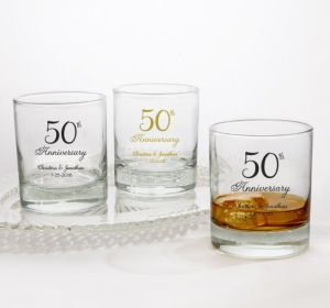 PERSONALIZED Wedding Rocks Glasses (Printed Glass) (50th Anniversary Elegant Scroll)