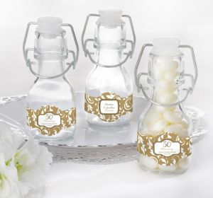 PERSONALIZED Wedding Glass Swing Top Bottles (Printed Label) (Gold Elegant Scroll)