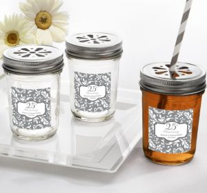 PERSONALIZED Wedding Mason Jars with Daisy Lids (Printed Label) (Silver Elegant Scroll)