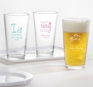 PERSONALIZED Wedding Pint Glasses (Printed Glass) (Pink, Blushing Bride Dress)