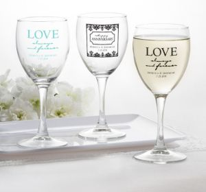 PERSONALIZED Wedding Wine Glasses (Printed Glass) (White, Always & Forever Phrase)